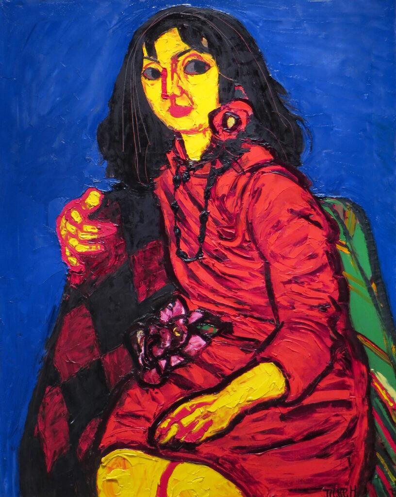 林武「赤衣の少女」30号 油彩